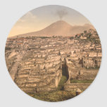Pompeya y soporte Vesivius, Campania, Italia Pegatinas Redondas