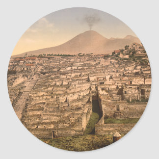 Pompeya y soporte Vesivius, Campania, Italia Pegatina Redonda