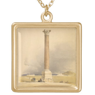 "Pompey's Pillar, Alexandria, from ""Egypt and Nubia Square Pendant Necklace"