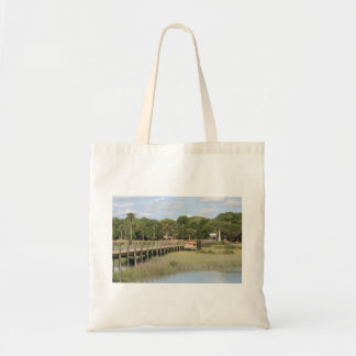 Ponce de Leon park in Florida dock Tote Bags