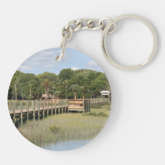Ponce de Leon park in Florida dock Double-Sided Round Acrylic Keychain