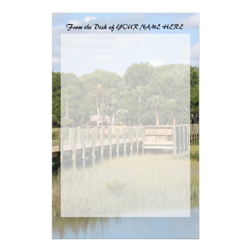 Ponce de Leon park in Florida dock Personalized Stationery