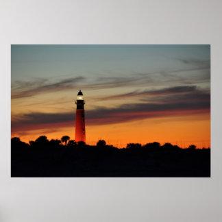 Ponce Inlet Lighthouse Sherbet Orange Sky Poster