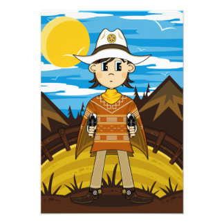 Poncho Cowboy RSVP Card Personalized Announcements