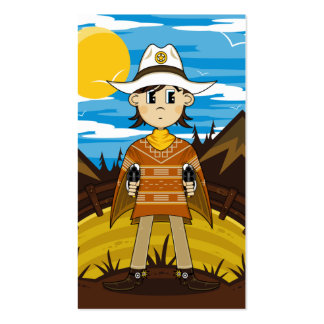 Poncho Cowboy Sheriff Bookmark Business Card Template