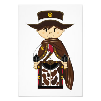 Poncho Cowboy Sheriff RSVP Card Personalized Invitation
