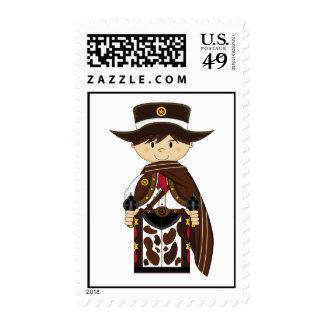 Poncho Cowboy Sheriff Stamp