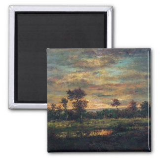 Pond at the Edge of a Wood 2 Inch Square Magnet