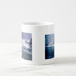 Pond at winter coffee mugs
