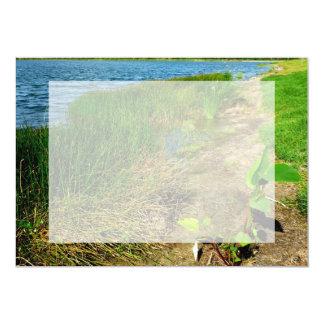"Pond bank with pond plants 5"" x 7"" invitation card"