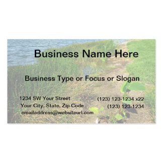 Pond bank with pond plants business card