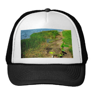 Pond bank with pond plants trucker hat