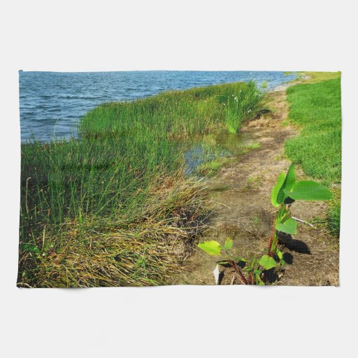 Pond bank with pond plants kitchen towels