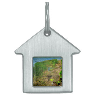 Pond bank with pond plants pet ID tags