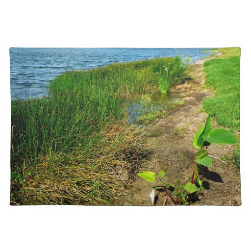 Pond bank with pond plants placemats