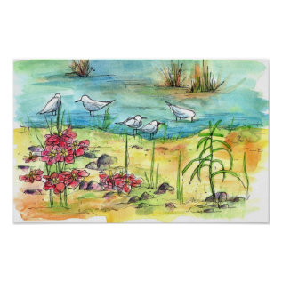 Pond Birds Watercolor Painting Nature Art Poster at Zazzle