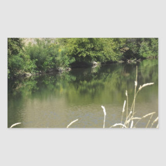 Pond by the Road Rectangular Sticker