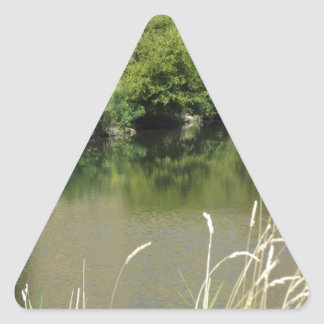 Pond by the Road Triangle Sticker