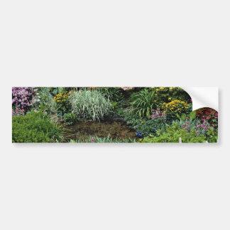 Pond, early summer, bog garden  flowers bumper stickers