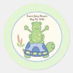 Pond Friends Birthday Baby Shower Favor Sticker