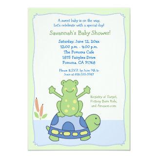 Pond Friends Frog Turtle Baby Shower Invitation