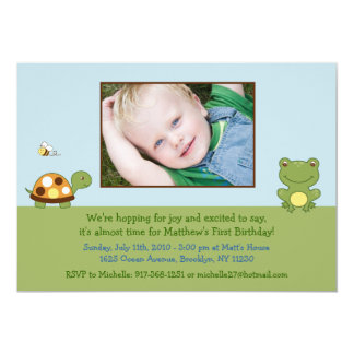 Pond Friends Frog Turtle Birthday Invitations
