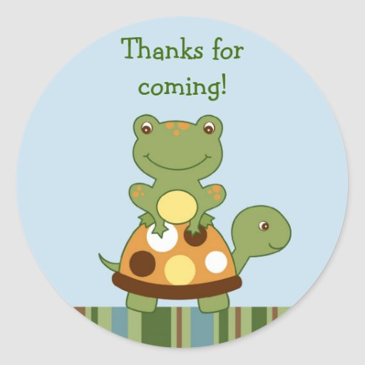 Pond Friends Frog Turtle Envelope Seals Stickers