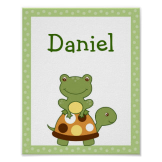 Pond Friends Frog Turtle Wall Art Name Print