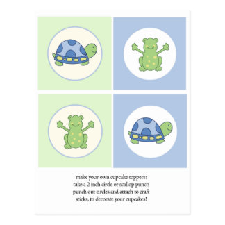 Pond Friends Turtle and Frog Cupcake Toppers Post Cards