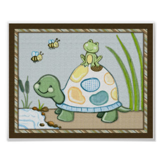 Pond Friends Wiggle Bugs Turtle Poster