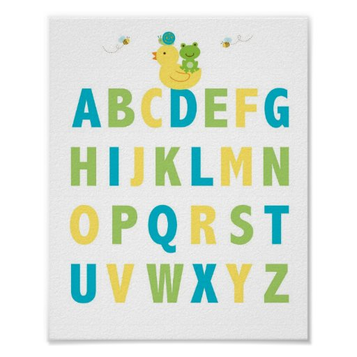 Pond Frog Turtle Alphabet Nursery Wall Print