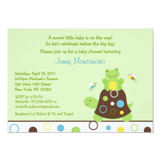 Pond Frog Turtle Bee Baby Shower Invitations