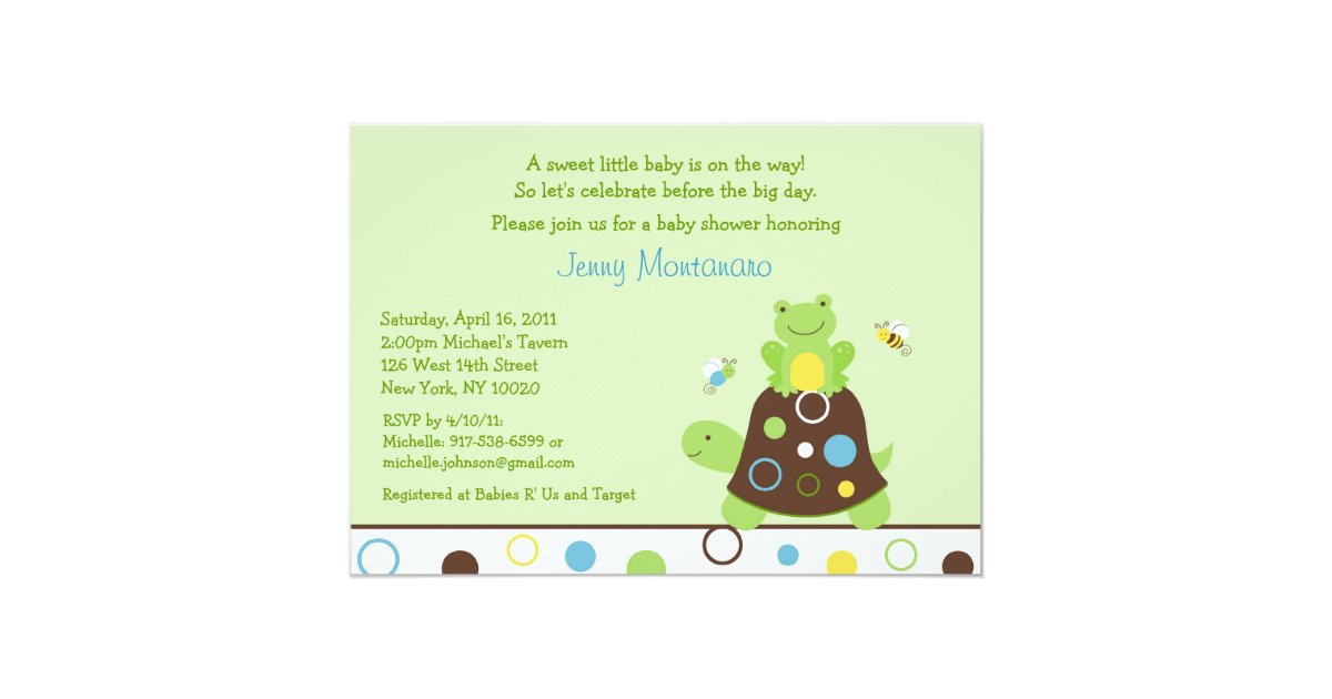 pond frog turtle bee baby shower invitations zazzle