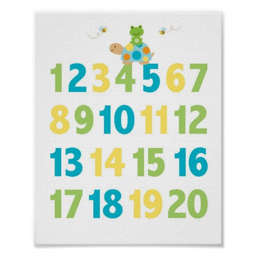 Pond Frog Turtle Number Nursery Wall Print