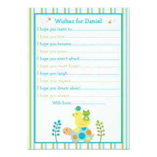 Pond Frog Turtle Wishes for Baby Card Custom Invite