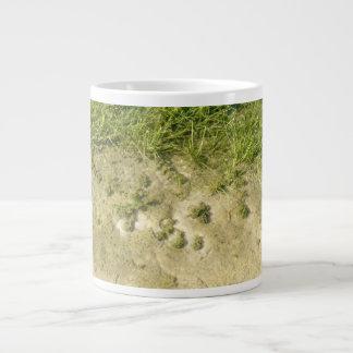Pond grass and sand background giant coffee mug