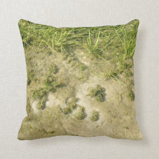 Pond grass and sand background throw pillow