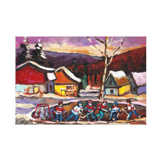POND HOCKEY GAME IN THE COUNTRY CANVAS PRINT