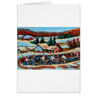 POND HOCKEY GAME WINTER IN THE COUNTRY 5X7.jpg Greeting Card