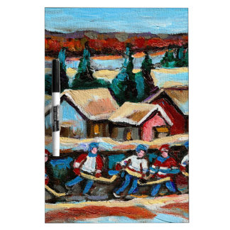 POND HOCKEY GAME WINTER IN THE COUNTRY 5X7.jpg Dry-Erase Boards