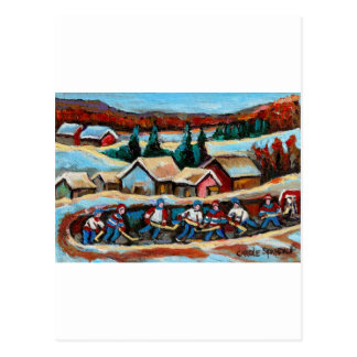 POND HOCKEY GAME WINTER IN THE COUNTRY 5X7.jpg Postcard