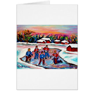 Pond Hockey on Frozen Lake Greeting Card