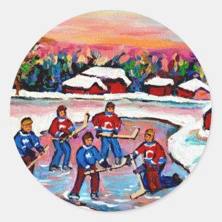 Pond Hockey on Frozen Lake Round Stickers