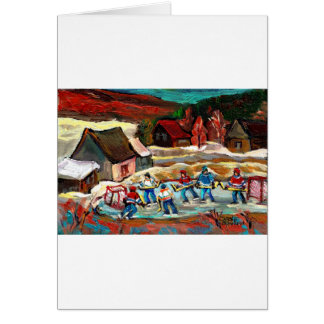 POND HOCKEY WINTER COUNTRY SCENE GREETING CARD