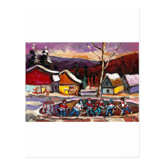 POND HOCKEY WITH BIRCH TREE AND MOUNTAINS POSTCARD