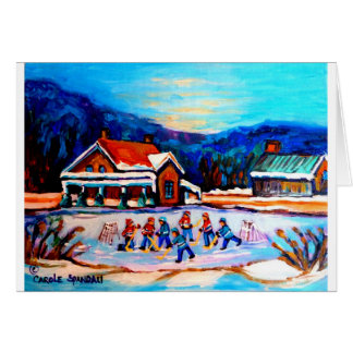 Pond Hockey with houses 9X12 Greeting Card