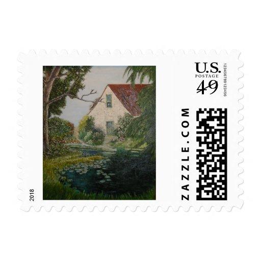Pond House Postage Stamp