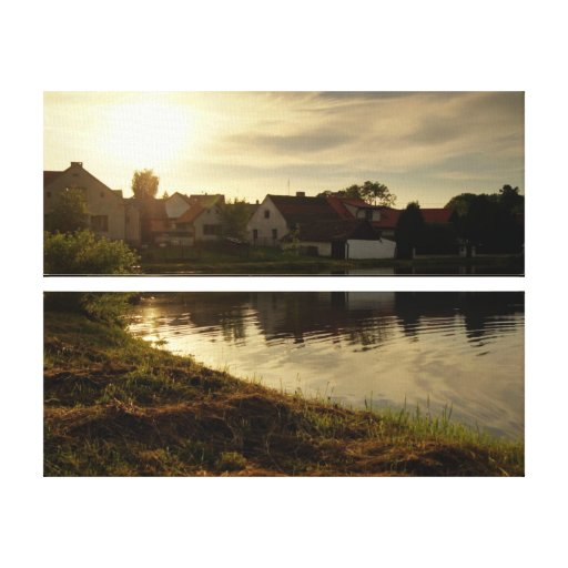 Pond in the Village Stretched Canvas Print