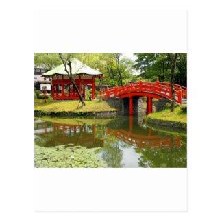 pond in village postcard
