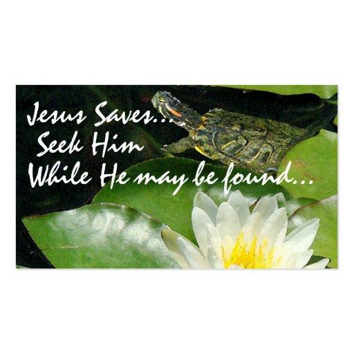 Pond Jesus Saves Card Business Card Template